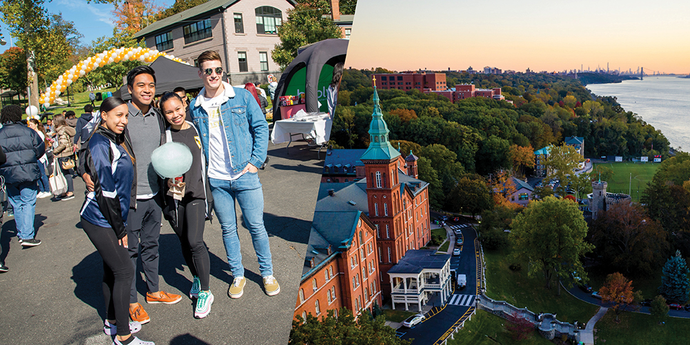 College of two students on campus and an aerial view of Founders Hall and the Hudson River.