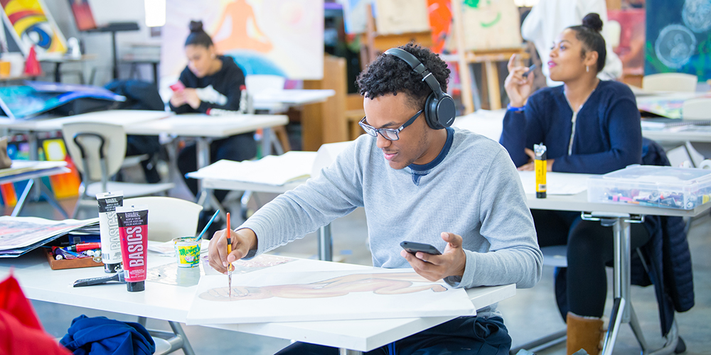 Student working in the art studio.