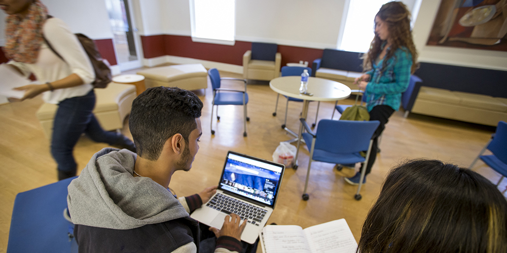 Students studying in Founders Hall.