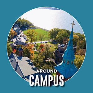 "Button saying ""Around Campus"""