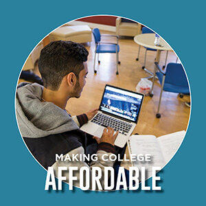 """Button saying """"Making College Affordable"""""""