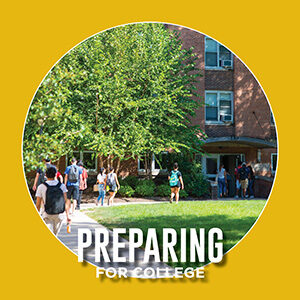 """Button saying """"Preparing for College"""""""