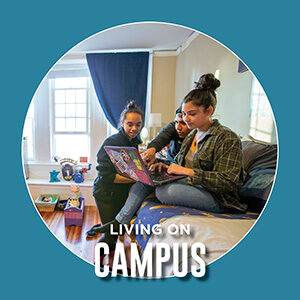 """Button saying """"Living on Campus"""""""