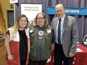 Carly Jenkinson poses with Red Cross people.