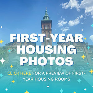 """Button saying """"First-Year Housing Photos"""""""