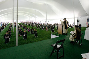 Image from the Commencement tent