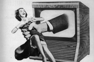 Old photo of a lady caught by a hand coming out of a tv.