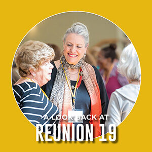 """Button saying """"A look back at Reunion 2019"""""""