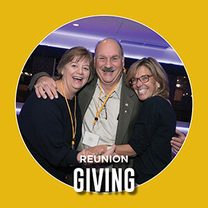 "Button saying ""Reunion Giving"""