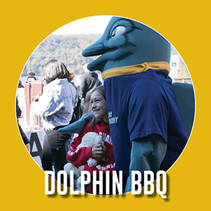 """Button saying """"Dolphin BBQ"""""""