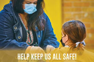 """Student getting a vaccine and text saying """"help keep us all safe"""""""