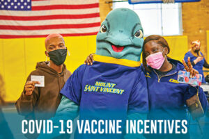 """Vinny and students and text saying """"vaccine incentives"""""""