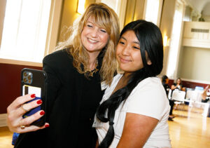 Susan R. Burns with a student.